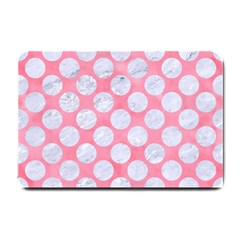 Circles2 White Marble & Pink Watercolor Small Doormat  by trendistuff