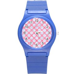 Circles2 White Marble & Pink Watercolor Round Plastic Sport Watch (s) by trendistuff
