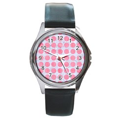 Circles1 White Marble & Pink Watercolor (r) Round Metal Watch by trendistuff