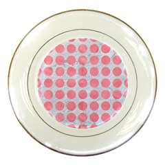 Circles1 White Marble & Pink Watercolor (r) Porcelain Plates by trendistuff