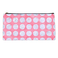 Circles1 White Marble & Pink Watercolor Pencil Cases by trendistuff