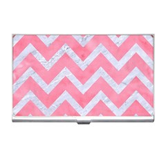 Chevron9 White Marble & Pink Watercolor Business Card Holders by trendistuff