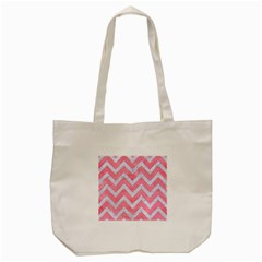 Chevron9 White Marble & Pink Watercolor Tote Bag (cream) by trendistuff