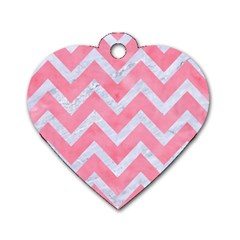 Chevron9 White Marble & Pink Watercolor Dog Tag Heart (one Side) by trendistuff