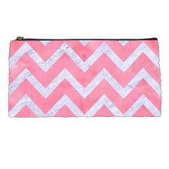 Chevron9 White Marble & Pink Watercolor Pencil Cases by trendistuff