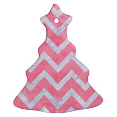 Chevron9 White Marble & Pink Watercolor Ornament (christmas Tree)  by trendistuff