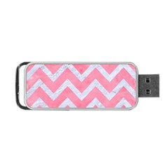 Chevron9 White Marble & Pink Watercolor Portable Usb Flash (one Side) by trendistuff