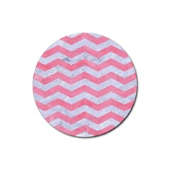 Chevron3 White Marble & Pink Watercolor Rubber Round Coaster (4 Pack)  by trendistuff