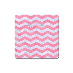 Chevron3 White Marble & Pink Watercolor Square Magnet by trendistuff