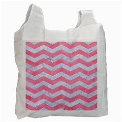Chevron3 White Marble & Pink Watercolor Recycle Bag (two Side)  by trendistuff
