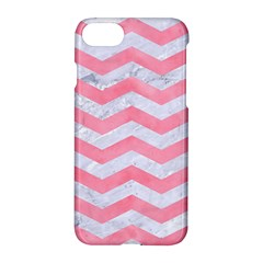 Chevron3 White Marble & Pink Watercolor Apple Iphone 8 Hardshell Case by trendistuff