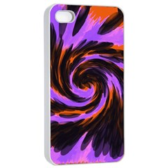Swirl Black Purple Orange Apple Iphone 4/4s Seamless Case (white) by BrightVibesDesign