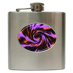 Swirl Black Purple Orange Hip Flask (6 Oz) by BrightVibesDesign