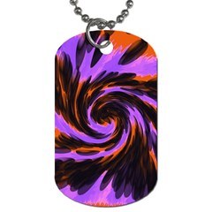 Swirl Black Purple Orange Dog Tag (two Sides) by BrightVibesDesign