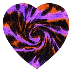 Swirl Black Purple Orange Jigsaw Puzzle (heart) by BrightVibesDesign