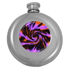 Swirl Black Purple Orange Round Hip Flask (5 Oz) by BrightVibesDesign