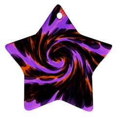 Swirl Black Purple Orange Star Ornament (two Sides) by BrightVibesDesign