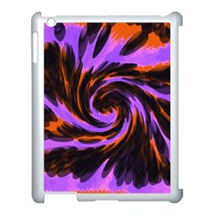 Swirl Black Purple Orange Apple Ipad 3/4 Case (white) by BrightVibesDesign