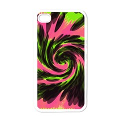 Swirl Black Pink Green Apple Iphone 4 Case (white) by BrightVibesDesign