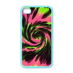 Swirl Black Pink Green Apple Iphone 4 Case (color) by BrightVibesDesign