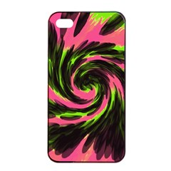 Swirl Black Pink Green Apple Iphone 4/4s Seamless Case (black) by BrightVibesDesign