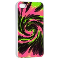 Swirl Black Pink Green Apple Iphone 4/4s Seamless Case (white) by BrightVibesDesign
