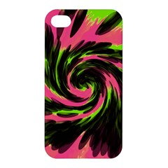 Swirl Black Pink Green Apple Iphone 4/4s Hardshell Case by BrightVibesDesign