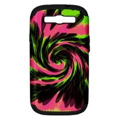 Swirl Black Pink Green Samsung Galaxy S Iii Hardshell Case (pc+silicone) by BrightVibesDesign