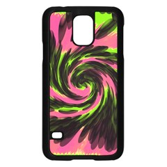 Swirl Black Pink Green Samsung Galaxy S5 Case (black) by BrightVibesDesign