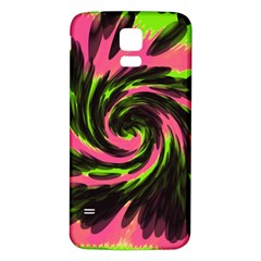 Swirl Black Pink Green Samsung Galaxy S5 Back Case (white) by BrightVibesDesign