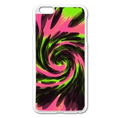 Swirl Black Pink Green Apple Iphone 6 Plus/6s Plus Enamel White Case by BrightVibesDesign