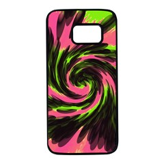 Swirl Black Pink Green Samsung Galaxy S7 Black Seamless Case by BrightVibesDesign