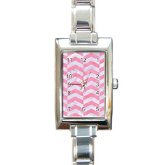 Chevron2 White Marble & Pink Watercolor Rectangle Italian Charm Watch by trendistuff