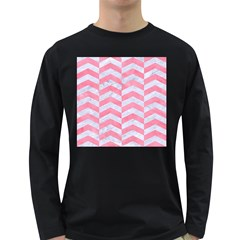 Chevron2 White Marble & Pink Watercolor Long Sleeve Dark T Shirts