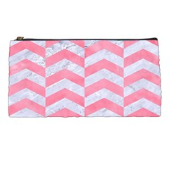 Chevron2 White Marble & Pink Watercolor Pencil Cases by trendistuff