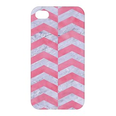 Chevron2 White Marble & Pink Watercolor Apple Iphone 4/4s Hardshell Case by trendistuff