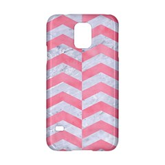 Chevron2 White Marble & Pink Watercolor Samsung Galaxy S5 Hardshell Case