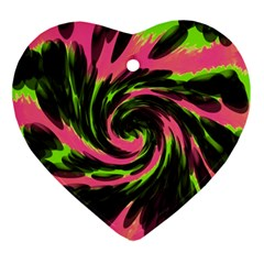 Swirl Black Pink Green Ornament (heart) by BrightVibesDesign