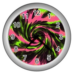 Swirl Black Pink Green Wall Clocks (silver)  by BrightVibesDesign
