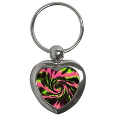Swirl Black Pink Green Key Chains (heart)  by BrightVibesDesign