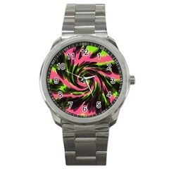 Swirl Black Pink Green Sport Metal Watch by BrightVibesDesign