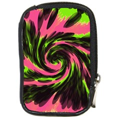 Swirl Black Pink Green Compact Camera Cases by BrightVibesDesign