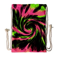 Swirl Black Pink Green Drawstring Bag (large) by BrightVibesDesign