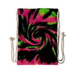 Swirl Black Pink Green Drawstring Bag (small) by BrightVibesDesign