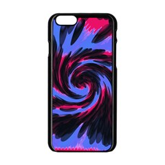 Swirl Black Blue Pink Apple Iphone 6/6s Black Enamel Case by BrightVibesDesign