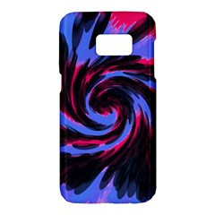Swirl Black Blue Pink Samsung Galaxy S7 Hardshell Case  by BrightVibesDesign