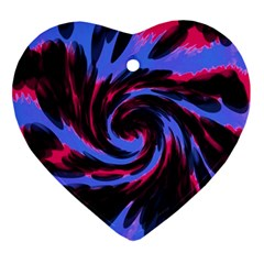 Swirl Black Blue Pink Ornament (heart) by BrightVibesDesign
