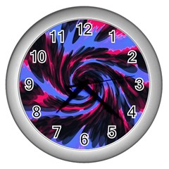 Swirl Black Blue Pink Wall Clocks (silver)  by BrightVibesDesign