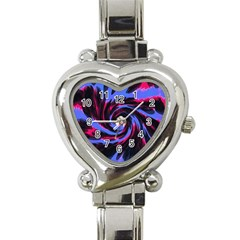 Swirl Black Blue Pink Heart Italian Charm Watch by BrightVibesDesign