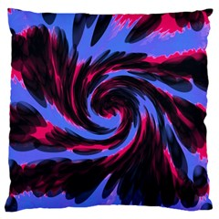 Swirl Black Blue Pink Large Cushion Case (two Sides) by BrightVibesDesign